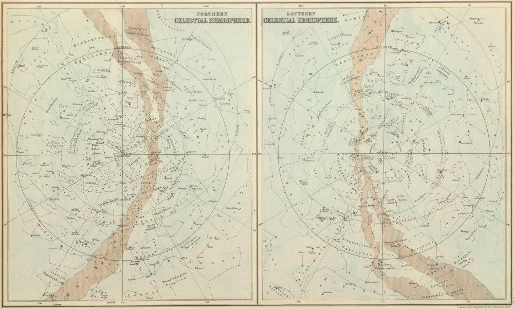 A_&_C_Black_1854_Celestial_Hemispheres